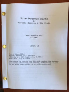 Nine Degrees North Screenplay Cover