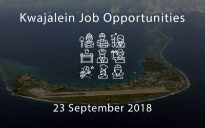 Kwajalein Job Opportunities – 23 September 2018