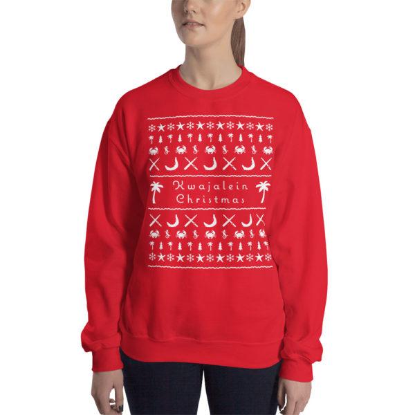 Kwajalein Christmas White Design on Red Sweatshirt Female Model