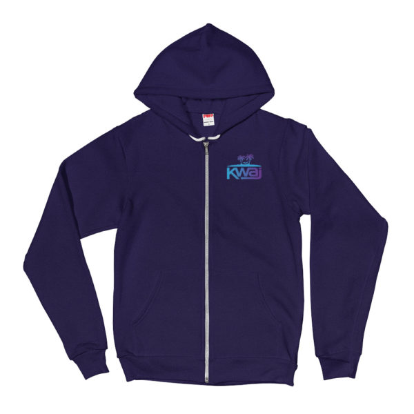 Kwaj – Kwajalein Atoll Marshall Islands Unisex Zip Up Hoodie - Front - Navy