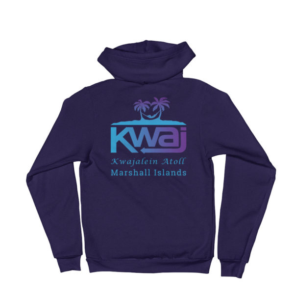 Kwaj – Kwajalein Atoll Marshall Islands Unisex Zip Up Hoodie - Back - Navy