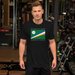 Kwajalein Atoll Flag Short-Sleeve Unisex T-Shirt – Black
