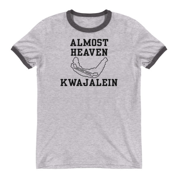 Retro Almost Heaven - Kwajalein T-shirt - Black on Heather Gray