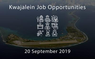Kwajalein Job Opportunities – 20 September 2019