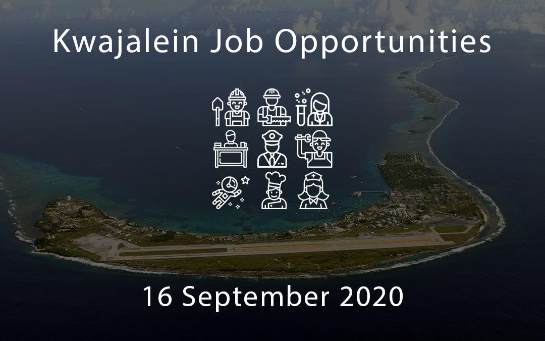 Kwajalein Job Opportunities – 16 September 2020