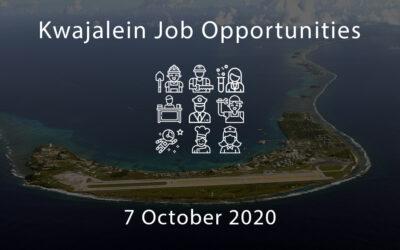 Kwajalein Job Opportunities – 7 October 2020