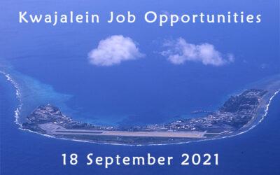 Kwajalein Job Opportunities 18 September 2021